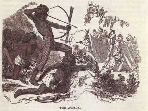 Attack by Native Americans on miners' settlement