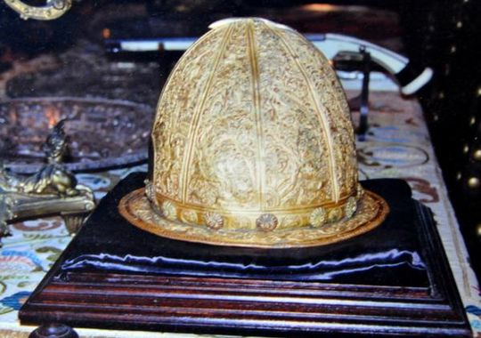 One of Sir Robert Marks greatest finds- a helmet made from solid gold weighs more than 80 pounds