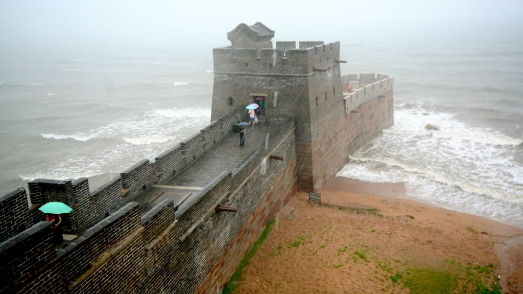 The Great Wall of China ending in the Bohai Sea