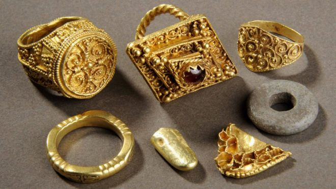 Anglo Saxon gold treasure includes four rings, which date between the seventh to 11th Centuries. Photo: Leeds City Council